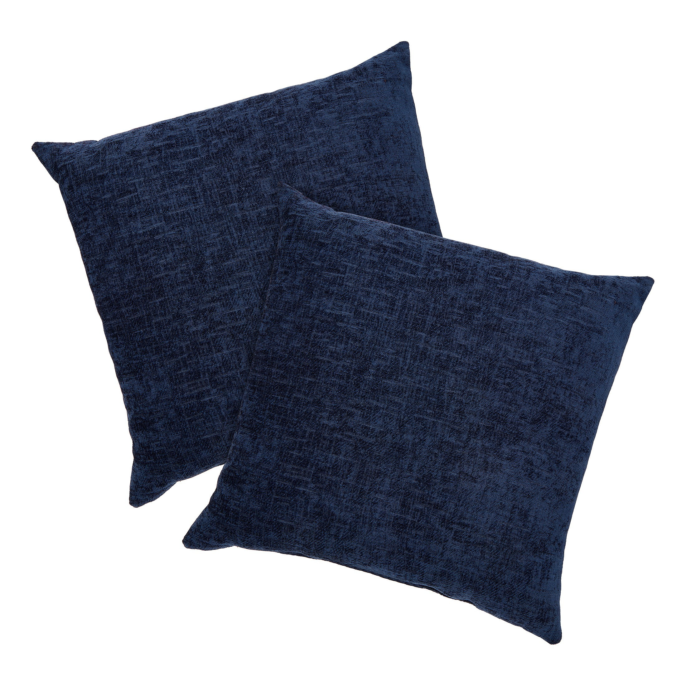 mainstays chenille decorative square throw pillow 18 x 18 navy 2 pack walmart com