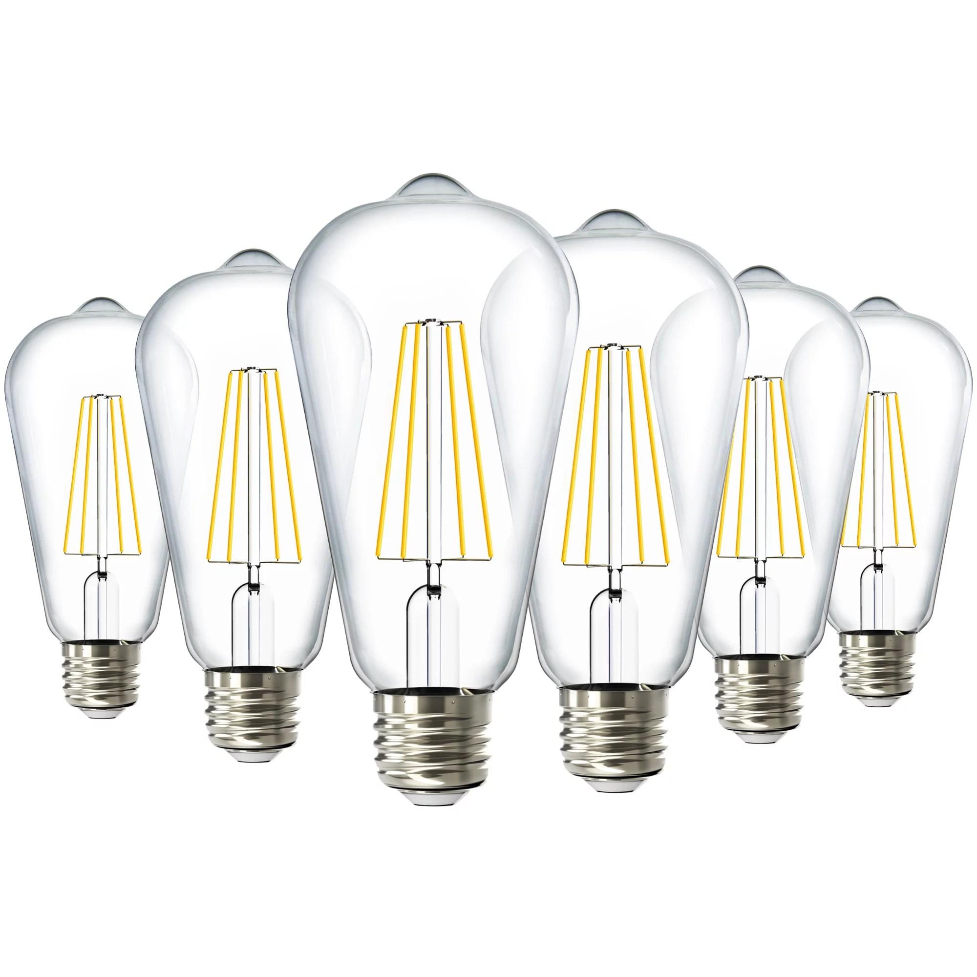 sunco lighting 6 pack st64 led bulb dimmable 8 5w 60w 3000k warm white vintage edison filament bulb 800 lm e26 base restaurant or string lights