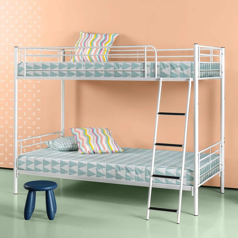 Zinus Luna Metal Twin Over Twin Convertible Bunk Bed Easy To Assemble White Walmart Com Walmart Com