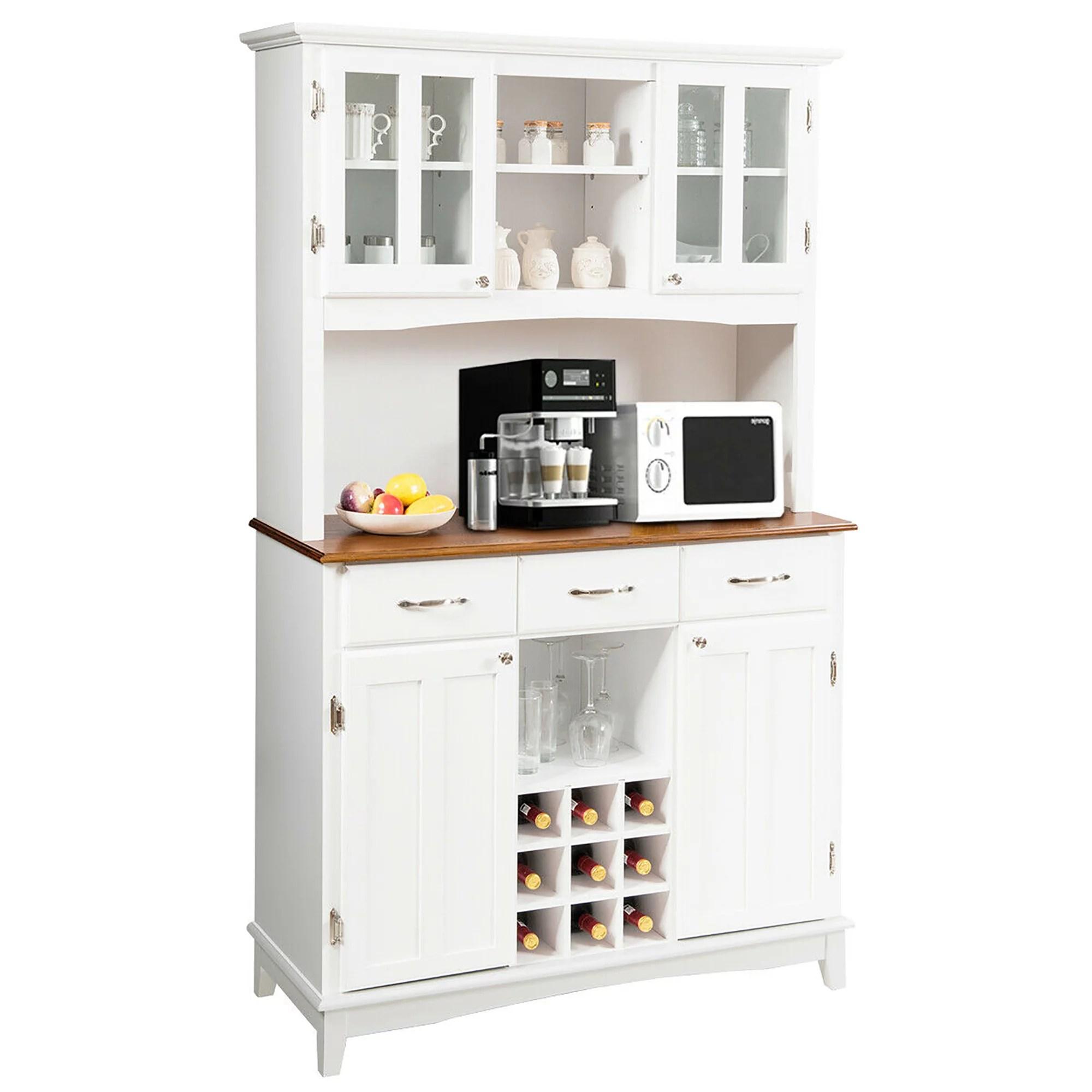 costway buffet and hutch kitchen storage cabinet cupboard w wine rack drawers white walmart com
