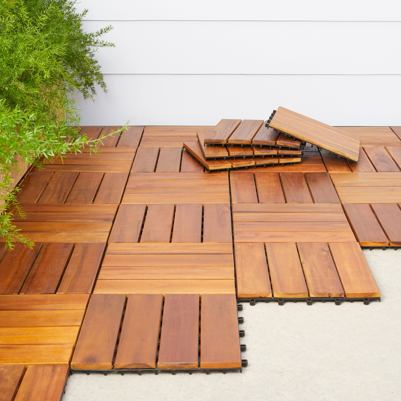 4 slat acacia interlocking deck tile set of 10 tiles walmart com