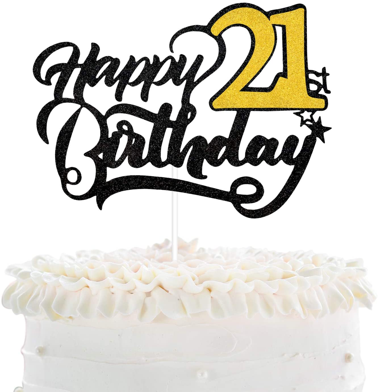 Happy 21st Birthday Cake Topper Black Glitter Twenty One Years Anniversary Supplies Cheers To Boys Or Girls Fabulous 21 Years Birthday Party Decoration Walmart Com Walmart Com