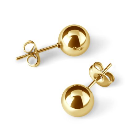 UHIBROS 316L Surgical Stainless Metal Spherical Ball Studs Earrings 5 Pair Set Assorted Sizes -Gold c869be85 86ba 4425 8cd4 3251f1dd03a4 1