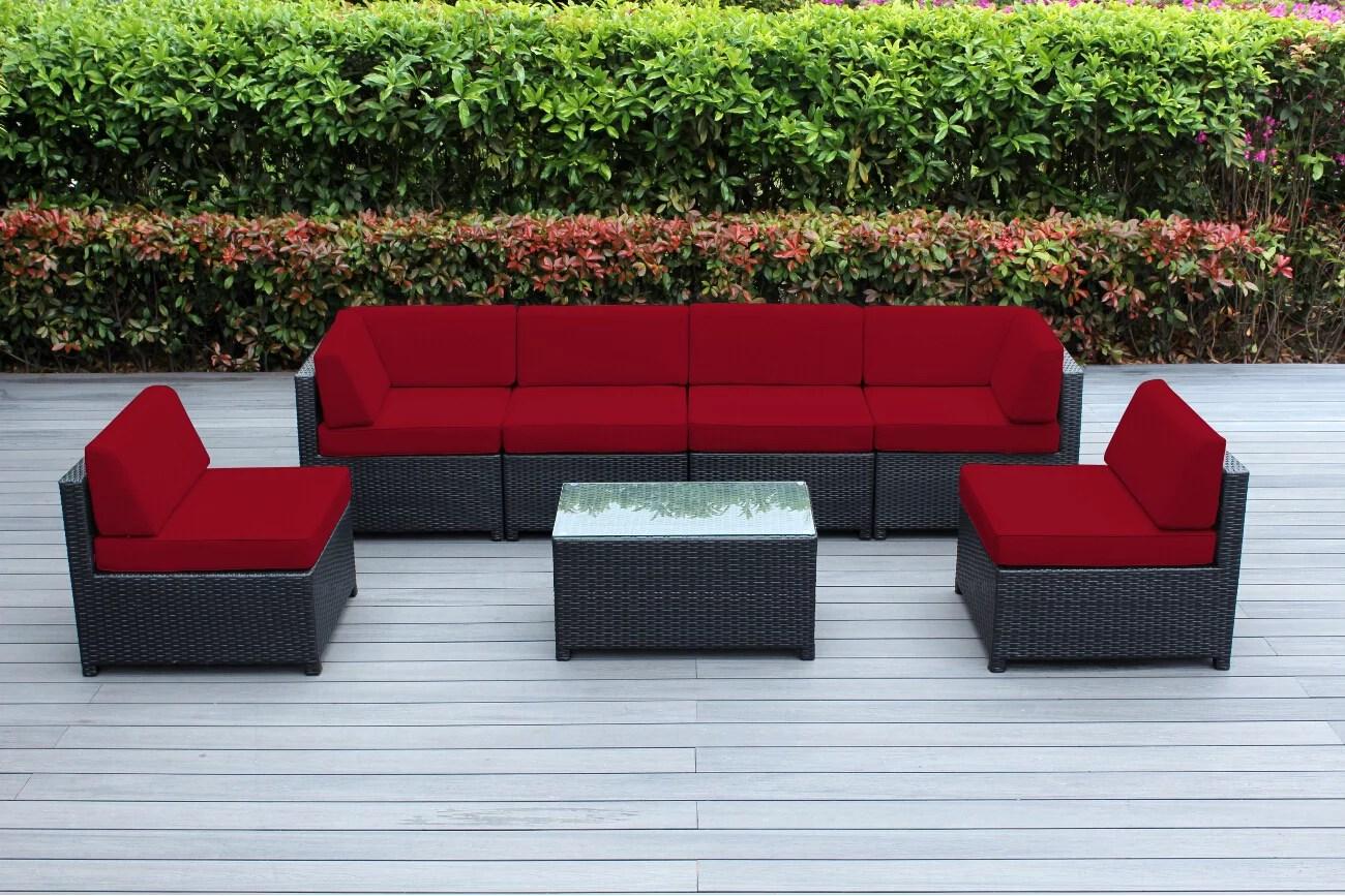 ohana 7 piece outdoor wicker patio furniture sectional conversation set black wicker