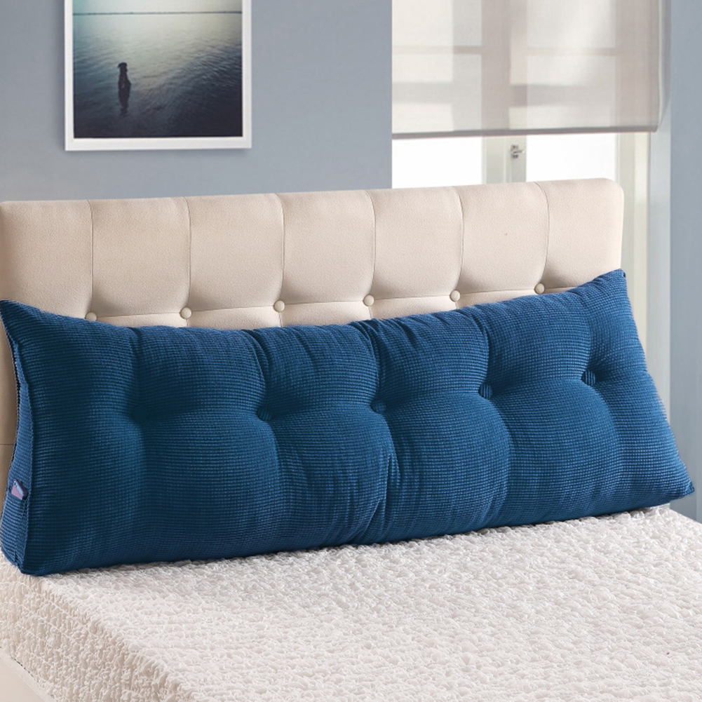 large filled triangular sofa bed back cushion positioning support backrest pillows reading pillows with removable cover jean blue california king