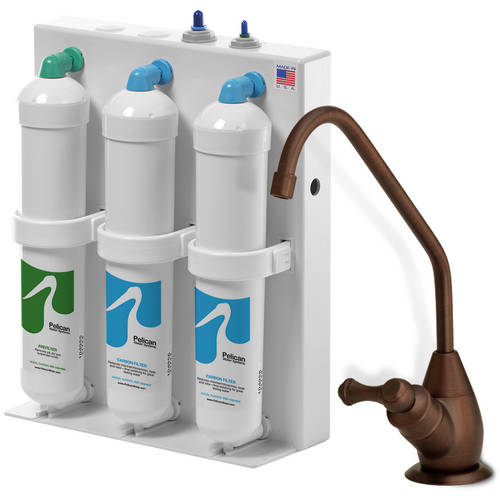 3 stage undercounter drinking water filter with oil rubbed bronze dispenser