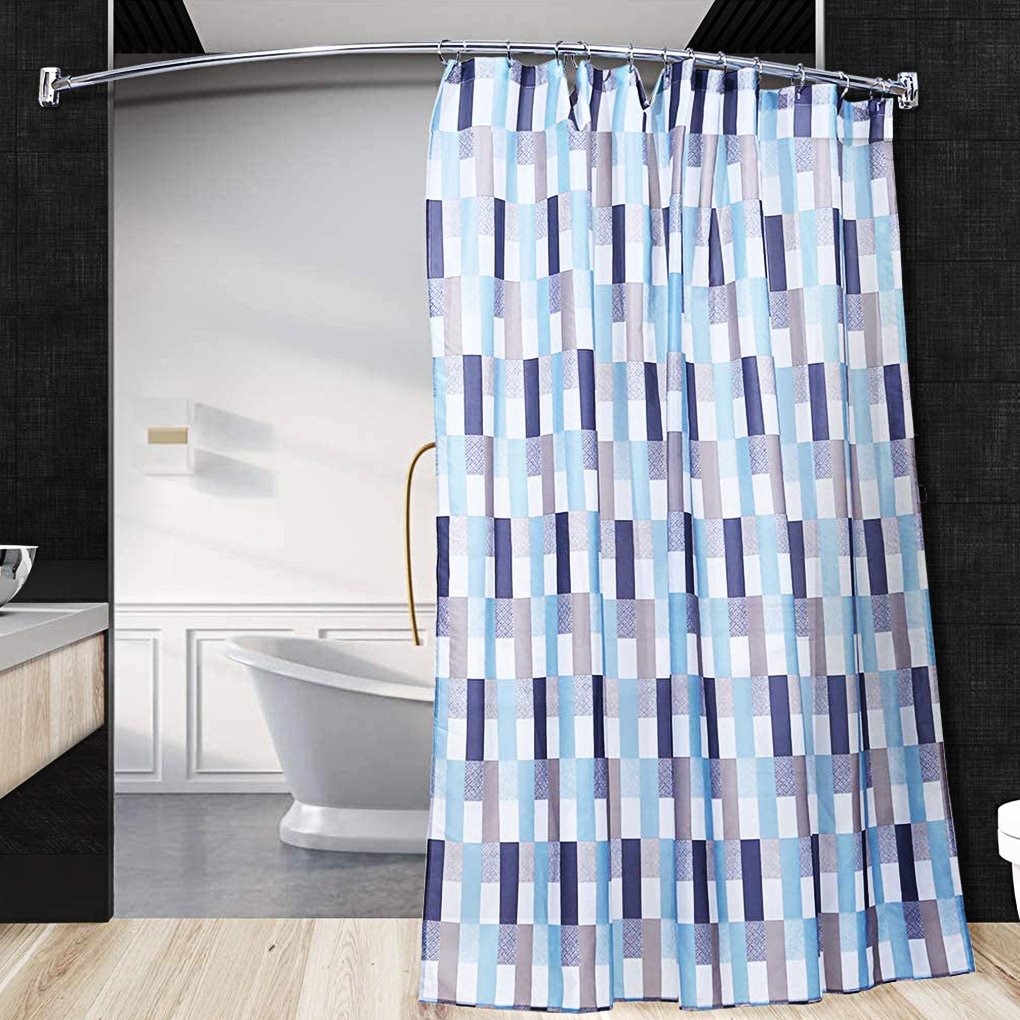 rinhoo trade adjustable 40 70 shower curtain rod curved stainless steel thicken tension shower rod bathroom pole
