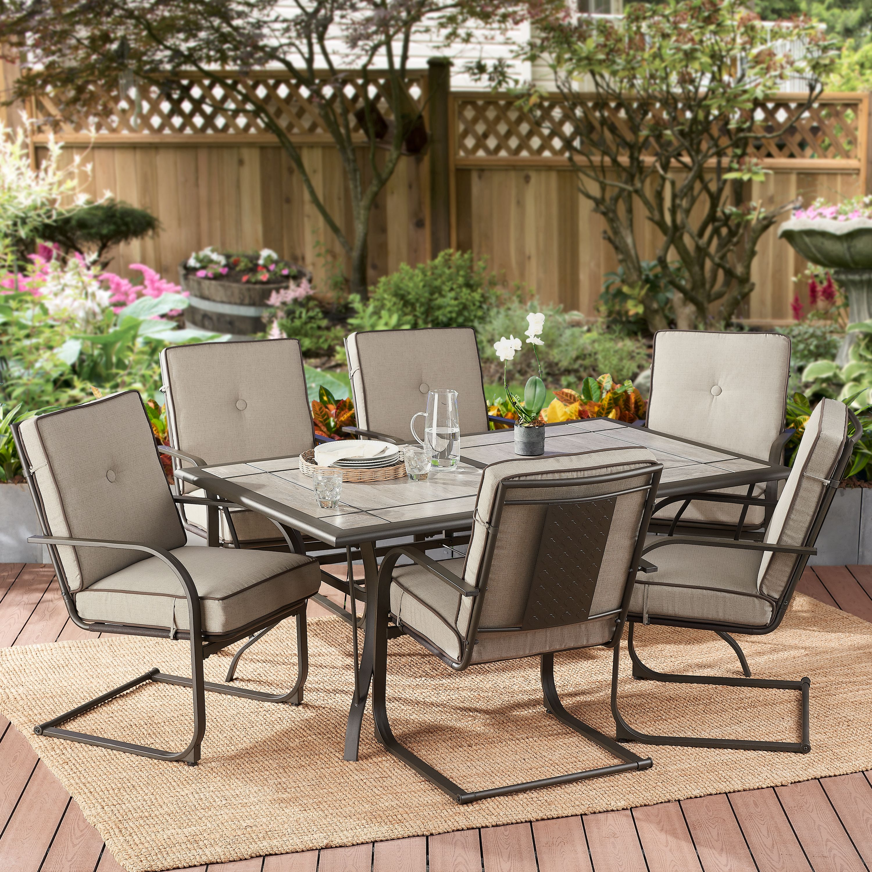 better homes gardens everson patio dining chairs with gray cushions set of 6 walmart com