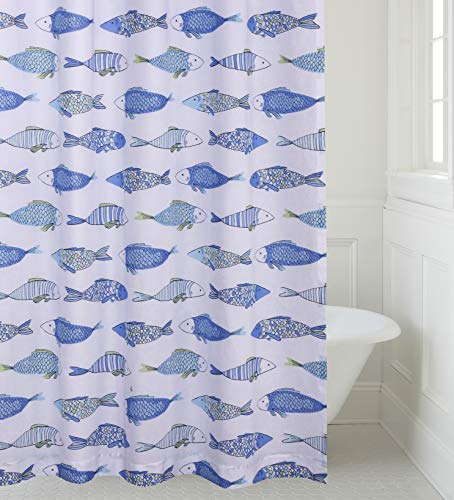 levtex home catalina shower curtain with grommets one shower curtain panel 72 inch length 72 inch width fish shades of blue and green