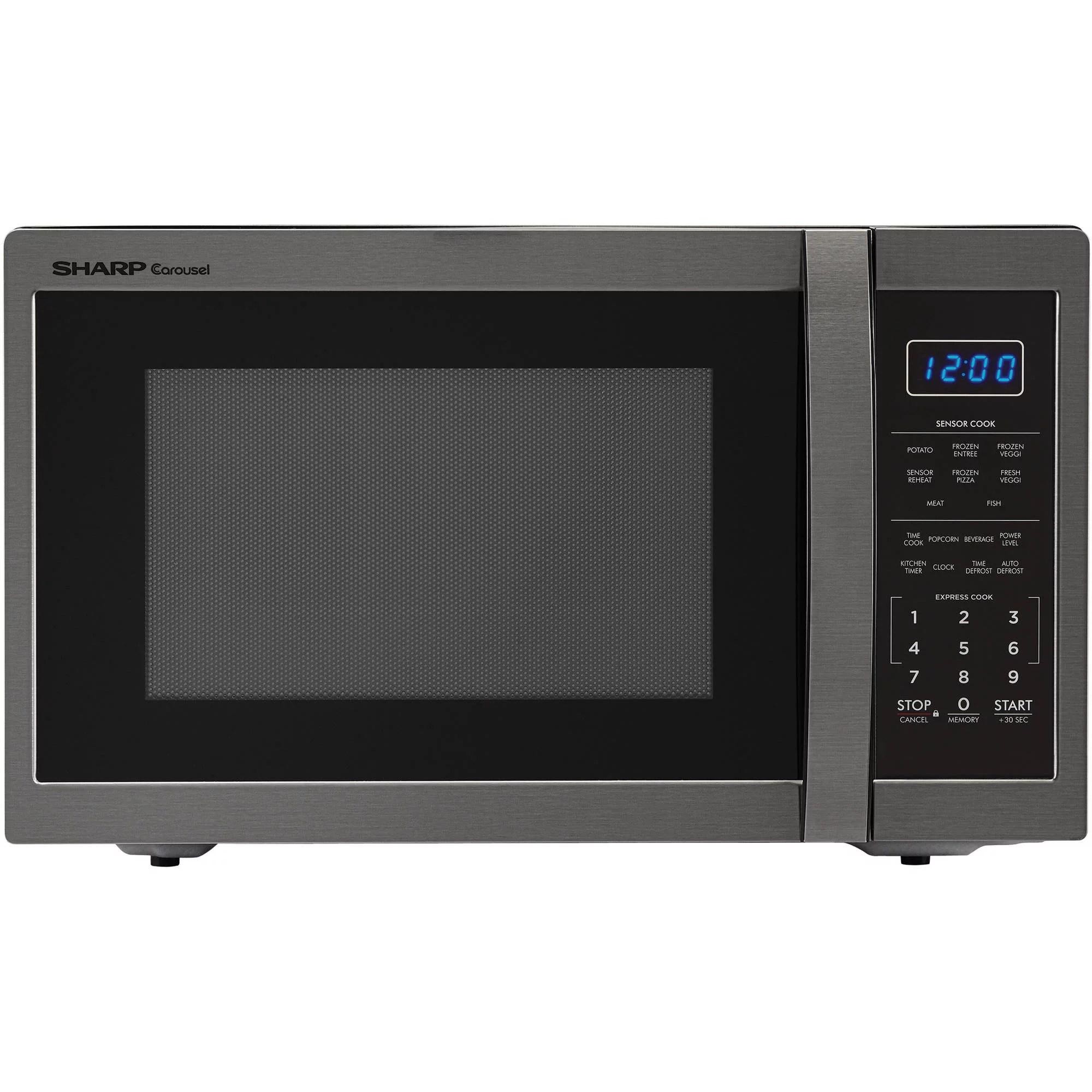 sharp zsmc1452ch 1 4 cu ft microwave black stainless steel walmart com