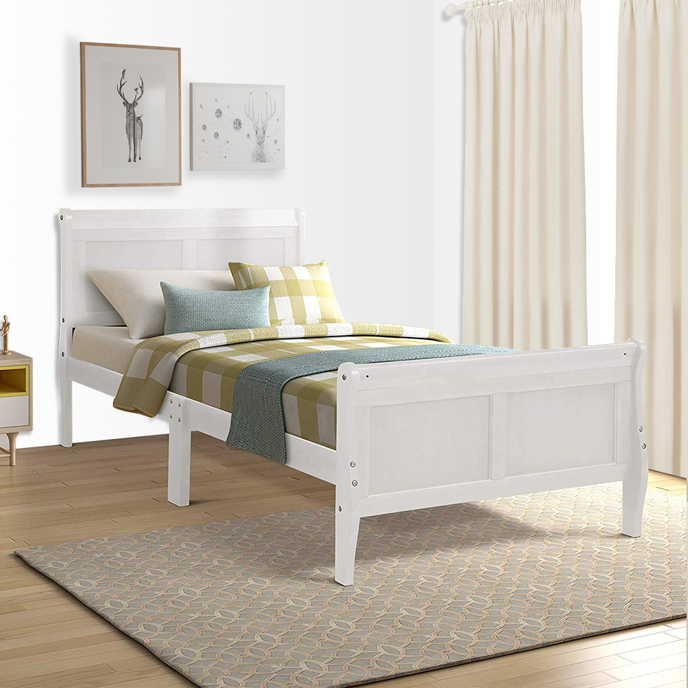 new twin headboard and footboard white wood platform bed frame with soild wood slat support modern bed mattress foundation sleigh bed for adults