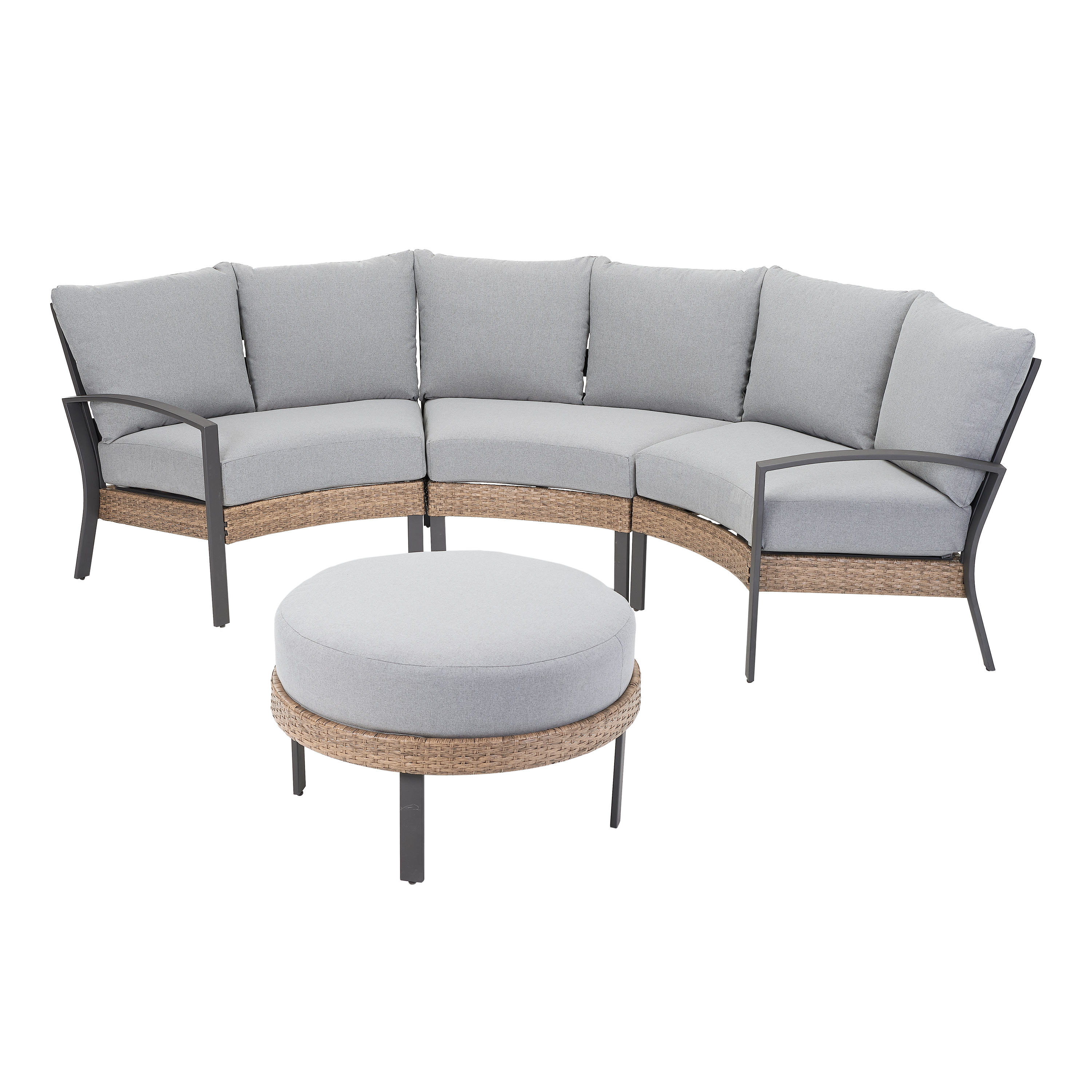 mainstays millbrae grove 4 piece half round patio sectional set with ottoman with gray cushions