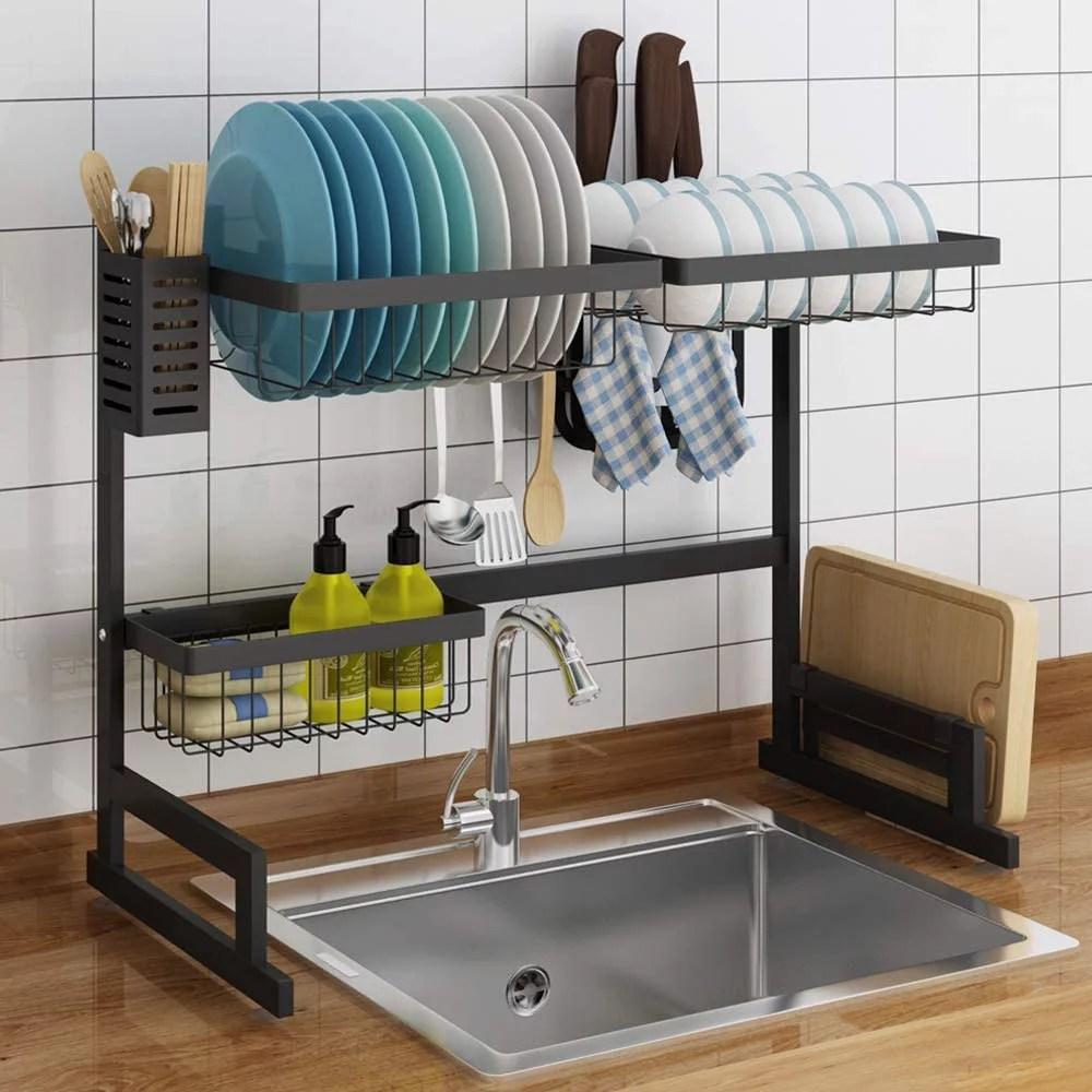 sink rack dish drainer stainless steel over the sink shelf storage rack for kitchen counter organization