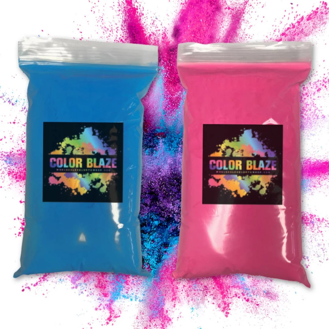color blaze gender reveal powder 1 lb pink 1 lb blue 2 lbs total perfect for baby reveals for car exhaust burnouts photoshoots balloons