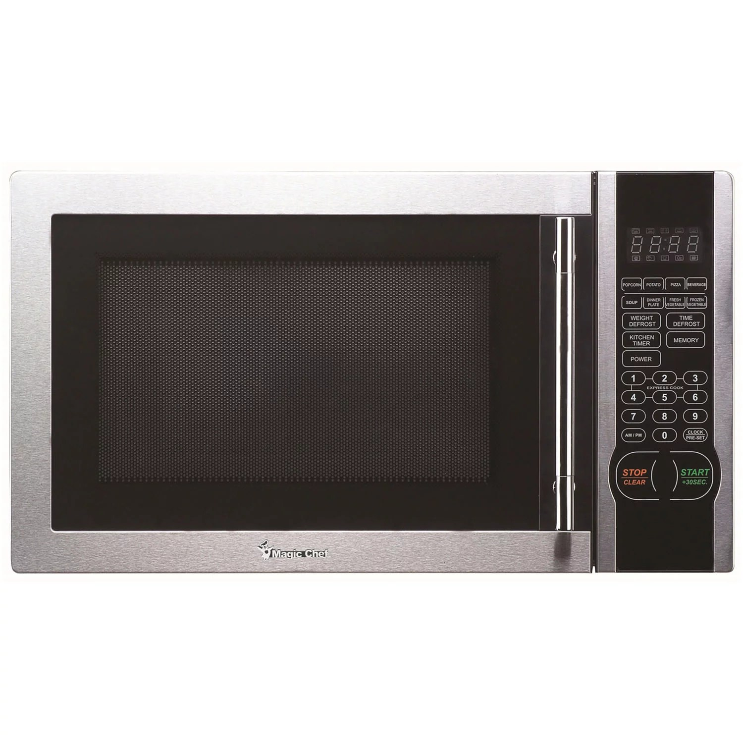 magic chef 1 1 cu ft 1000w countertop microwave oven with stylish door handle