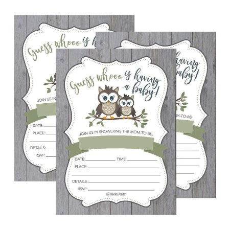 25 Cute Rustic Owl Woodland Forest Baby Shower Invitations Printed Fill In The Blank Invites For S Boys Gender Neutral Grey Unique Vintage Coed