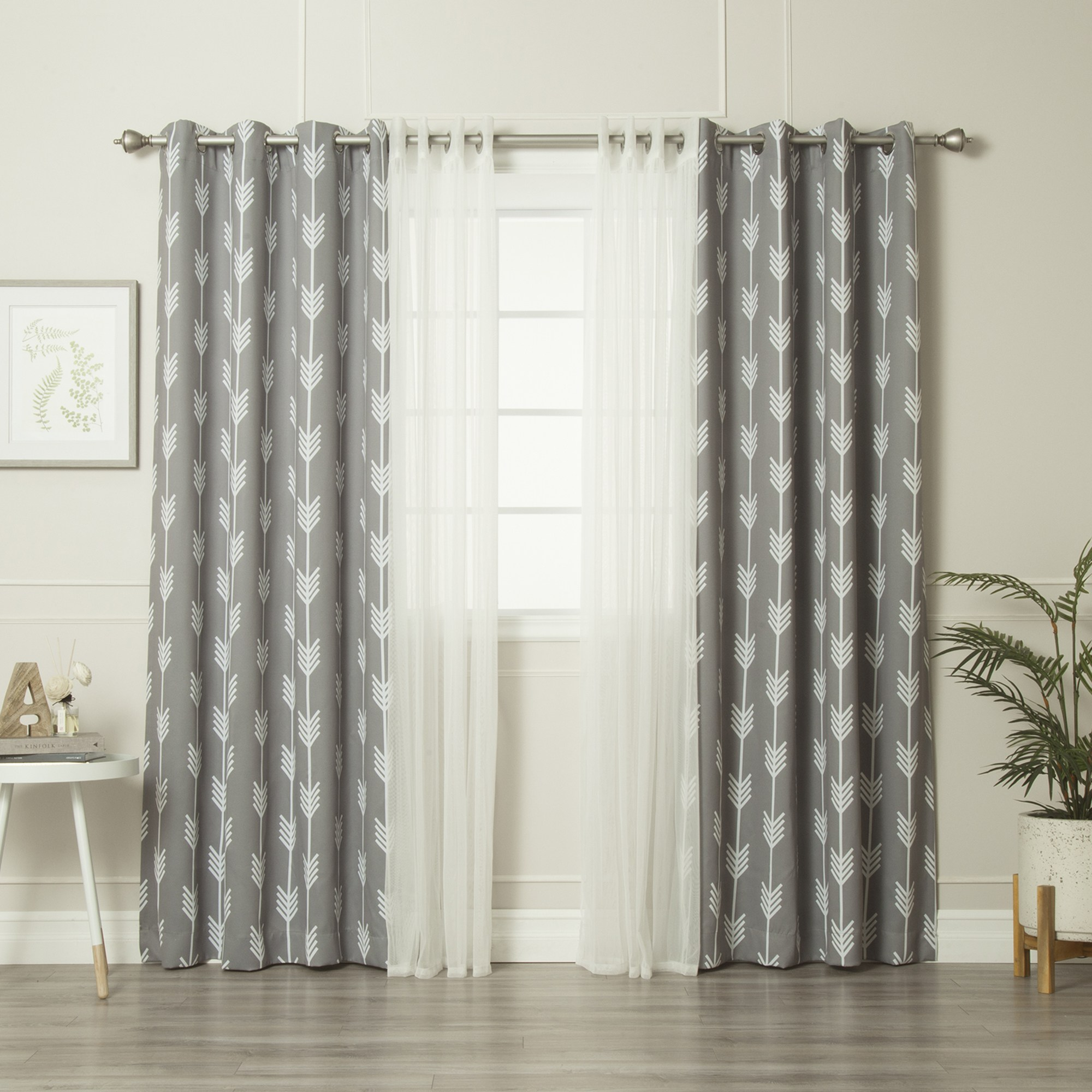 aurora home mix match tulle and arrow 4 piece curtain panel set