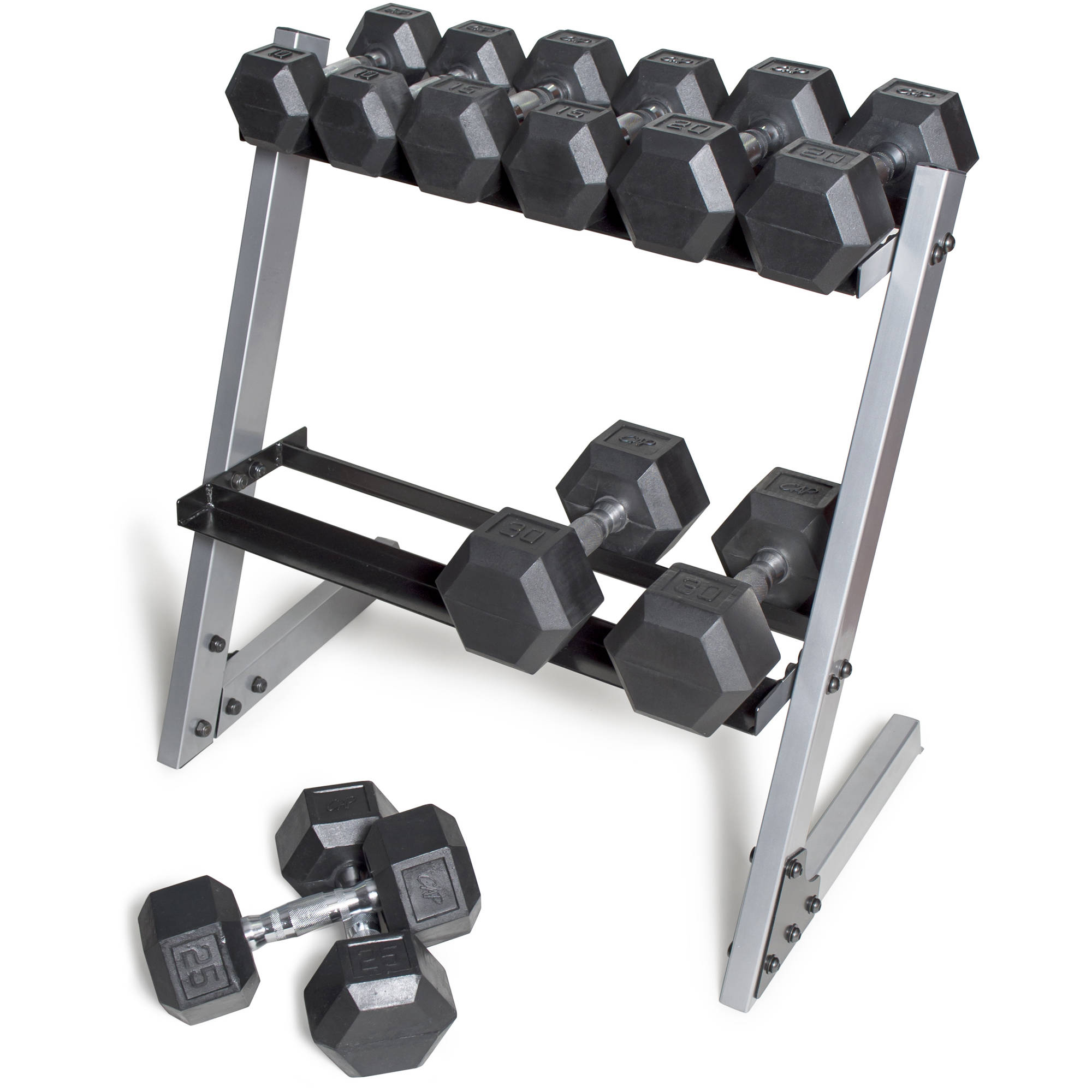 cap barbell 200 lb rubber hex dumbbell set 10 30 lb with rack