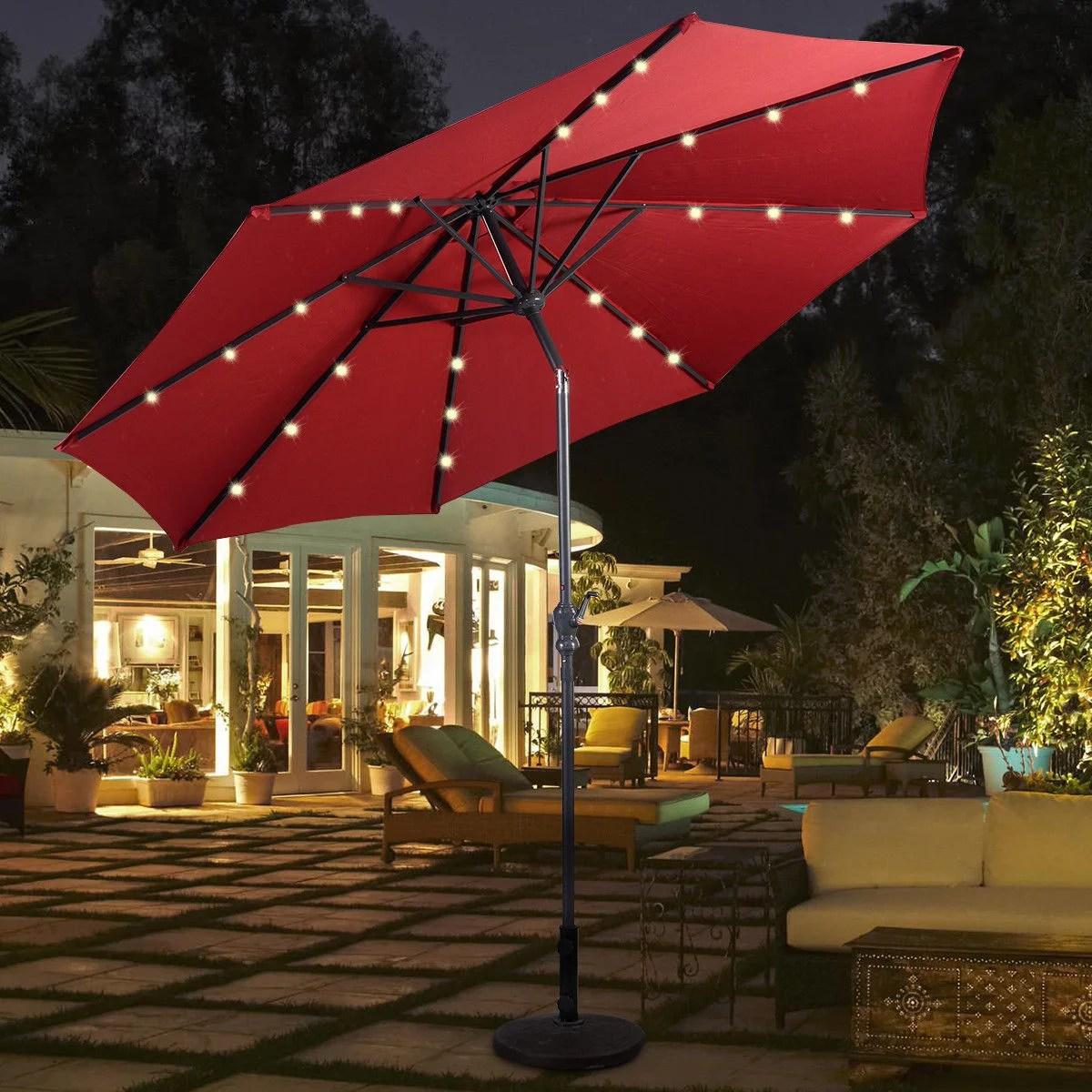 costway 10ft patio solar umbrella led patio market steel tilt w crank burgundy