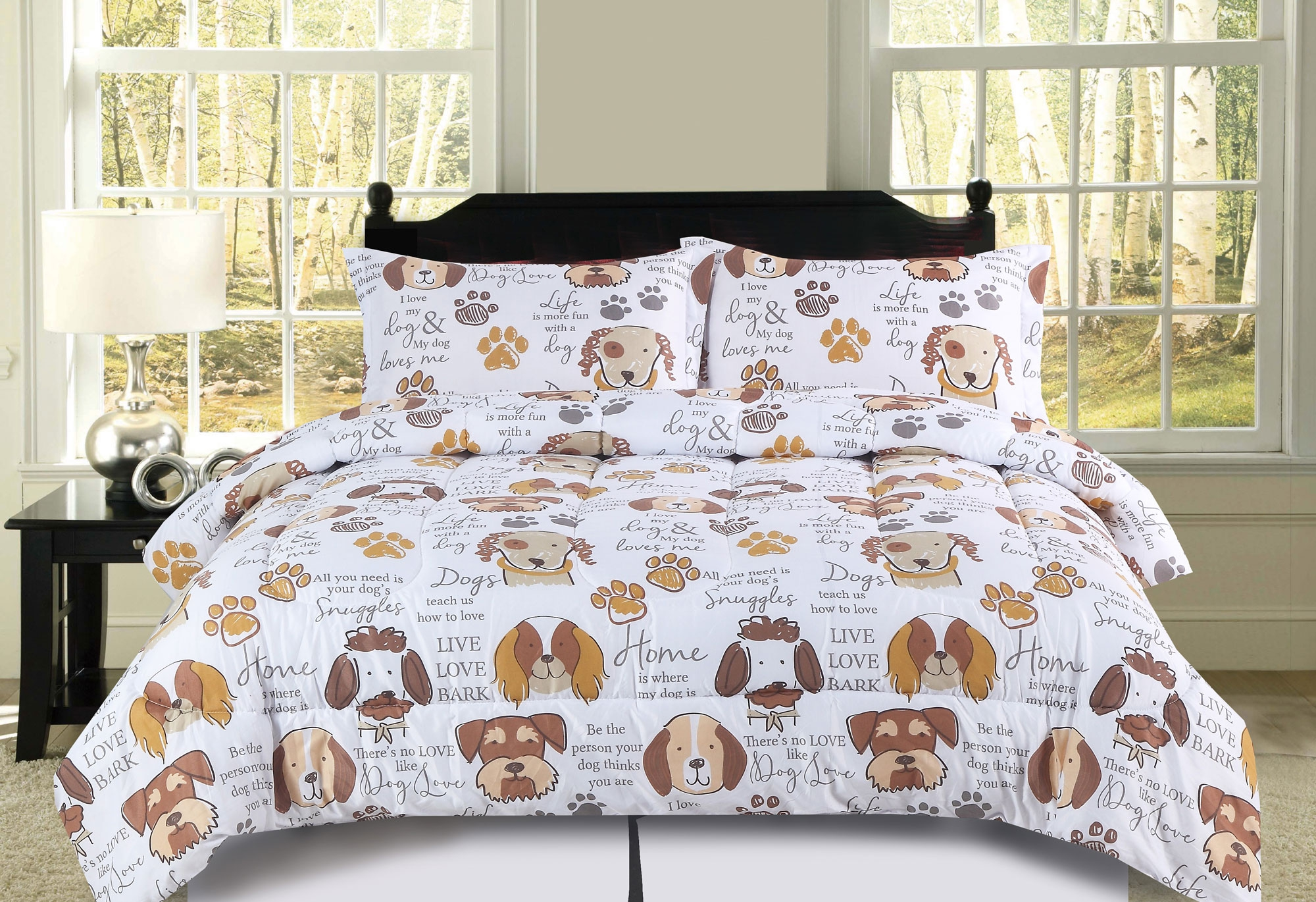 full queen dog puppy comforter bedding set pet themed animal lover brown tan and white
