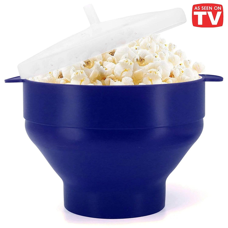 microwave popcorn popper bpa free silicone hot air microwavable popcorn maker bowl blue walmart com