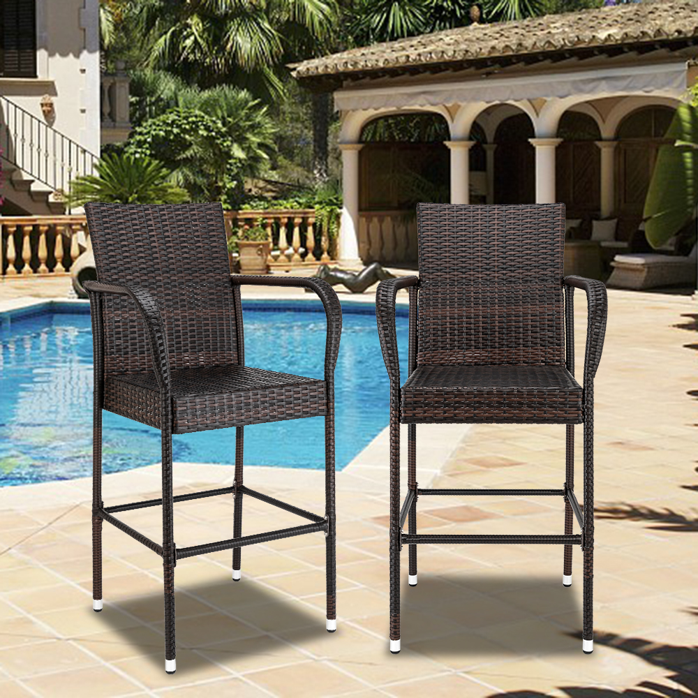 set of 2 outdoor patio bar stools all weather wicker outdoor furniture chair wicker rattan bar chairs barstools with footrest steel frame patio