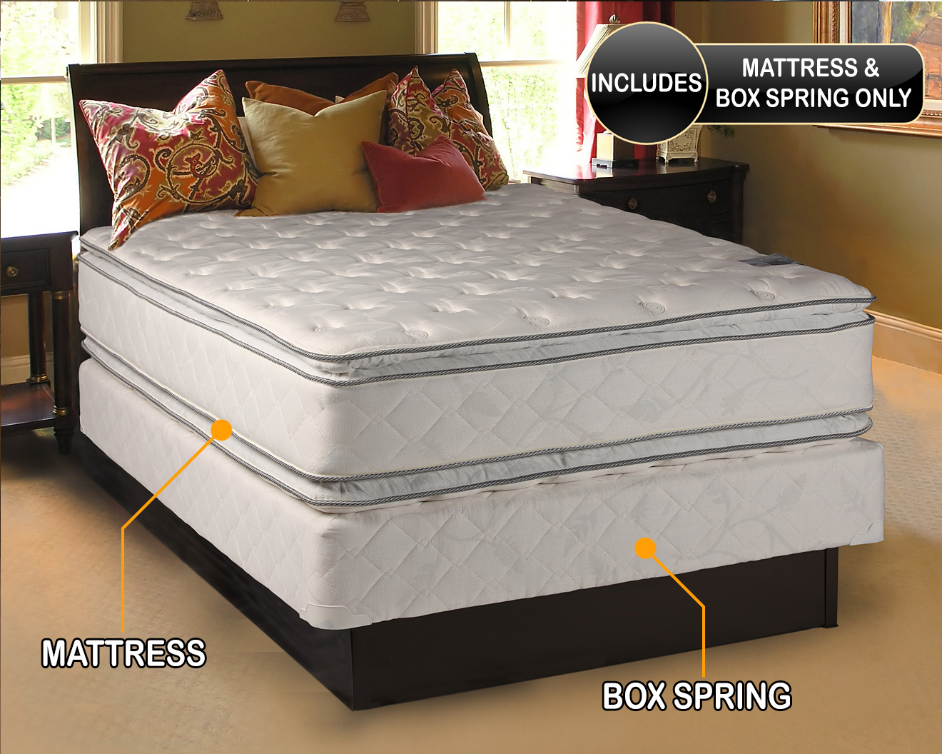 dream solutions double sided pillowtop mattress and box spring set twin sleep system with enhanced cushion support fully assembled great for your