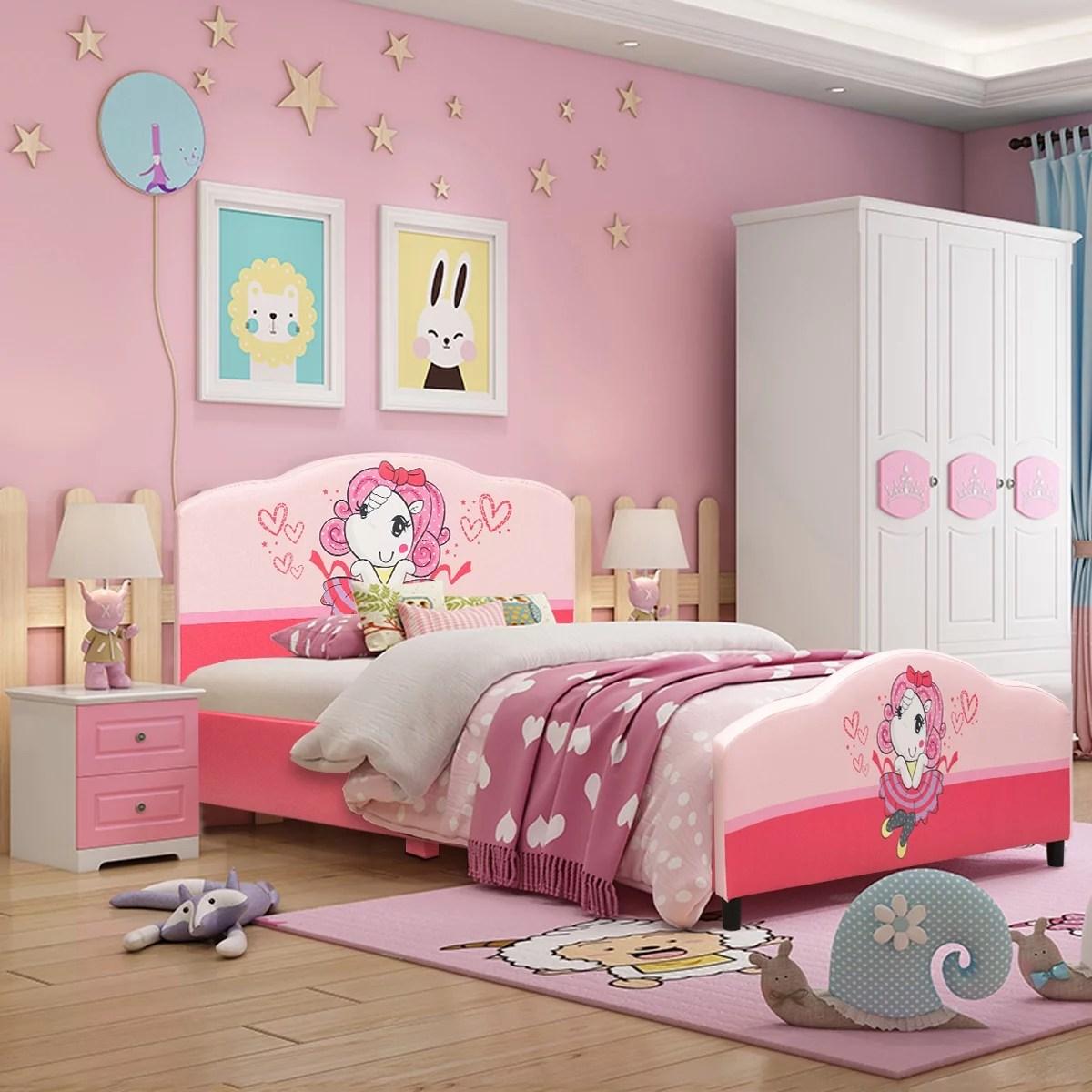 costway kids children upholstered platform toddler bed bedroom furniture girl pattern