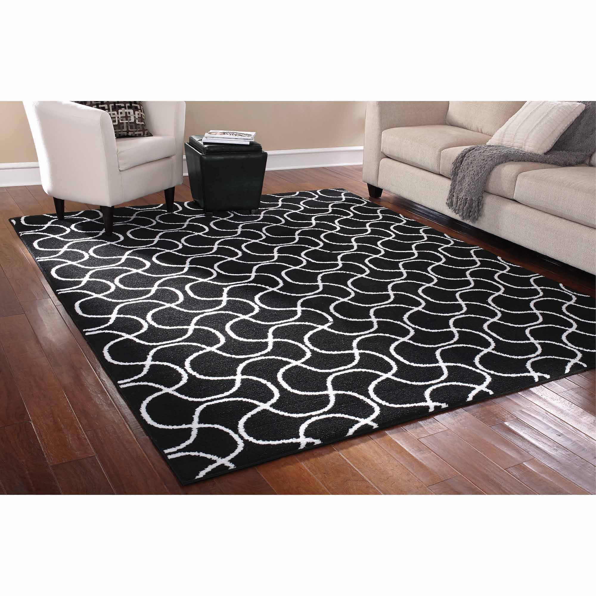 details about 8 x 10 indoor black white area rug mat carpet living room contemporary decor