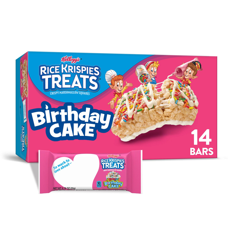 Rice Krispies Treats Marshmallow Snack Bars Kids Snacks School Lunch Birthday Cake 10 9oz Box 14 Bars Walmart Com Walmart Com