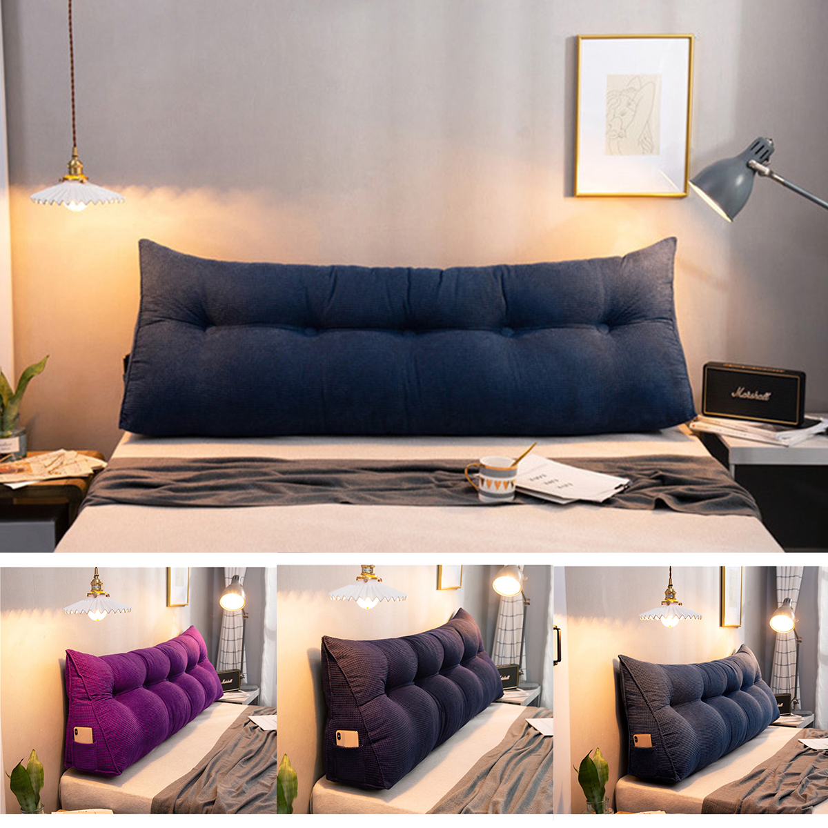 bed headrest sofa bed large filled wedge triangular support pillow cushion bedside pillow bed backrest positioning reading pillow office sofa tatami