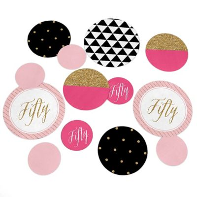 Chic 50th Birthday Pink Black And Gold Birthday Party Giant Circle Confetti Birthday Party Decorations Large Confetti 27 Count Walmart Com Walmart Com