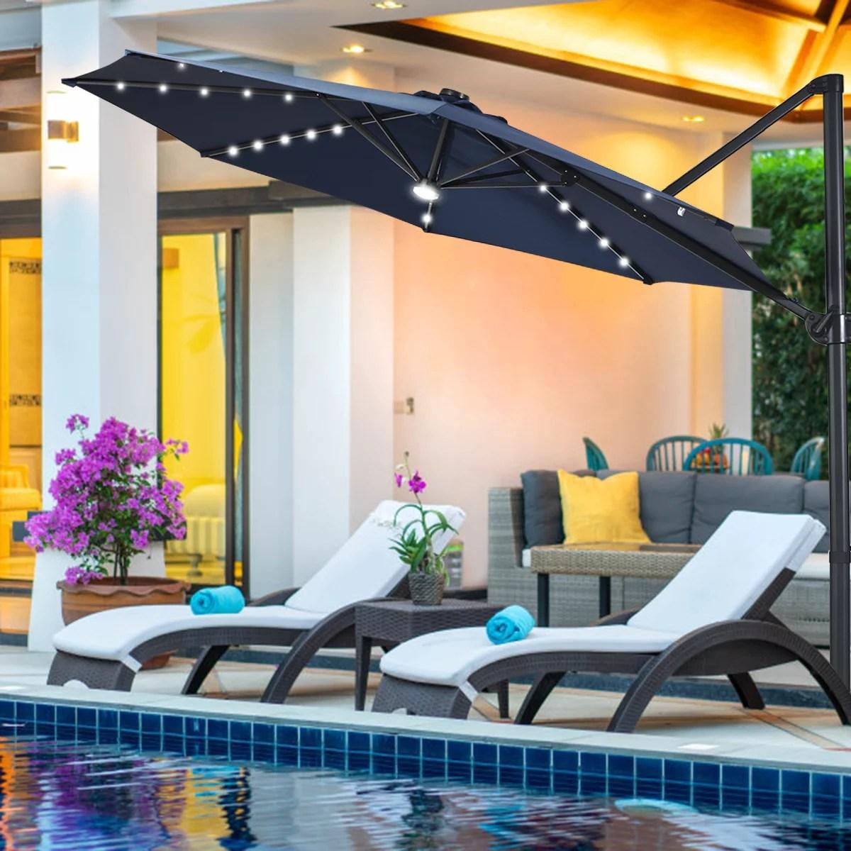 10ft solar led cantilever offset patio umbrella 360dgrees rotation aluminum