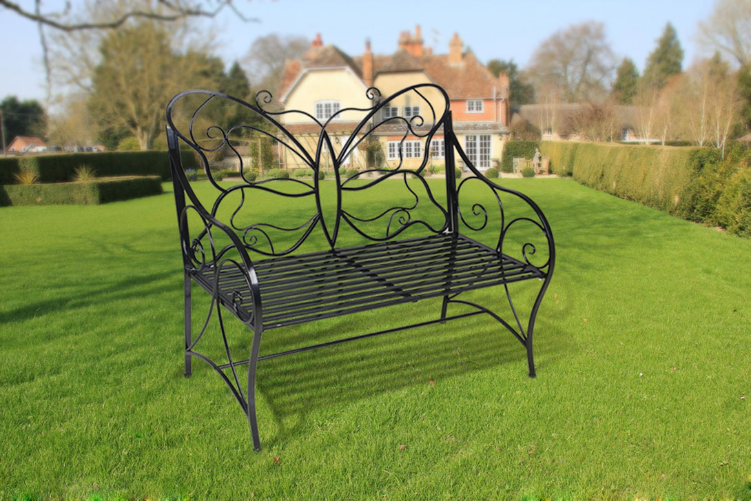 Metal Antique Outdoor Garden Bench Leisure Butterfly Bench