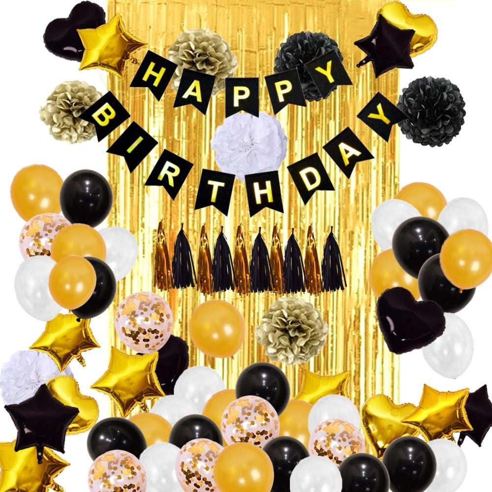 Black Gold White Balloon Birthday Party Decorations 84pcs Include 2pcs 3x8 Ft Foil Fringe Door Curtains Gold Confetti Balloons With Metallic Fringes Walmart Com Walmart Com