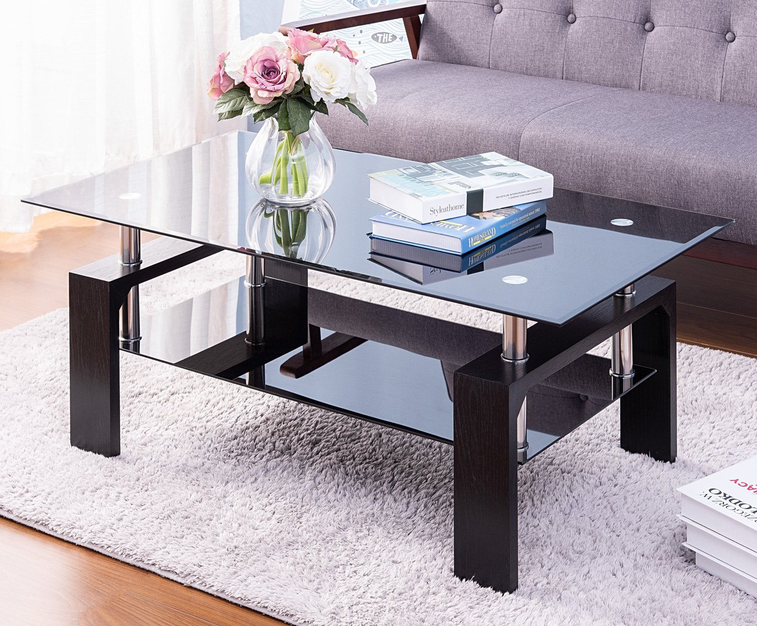 glass coffee table for living room modern rectangle cocktail tea table sofa table with 2 tier tempered glass boards wood legs mid century design