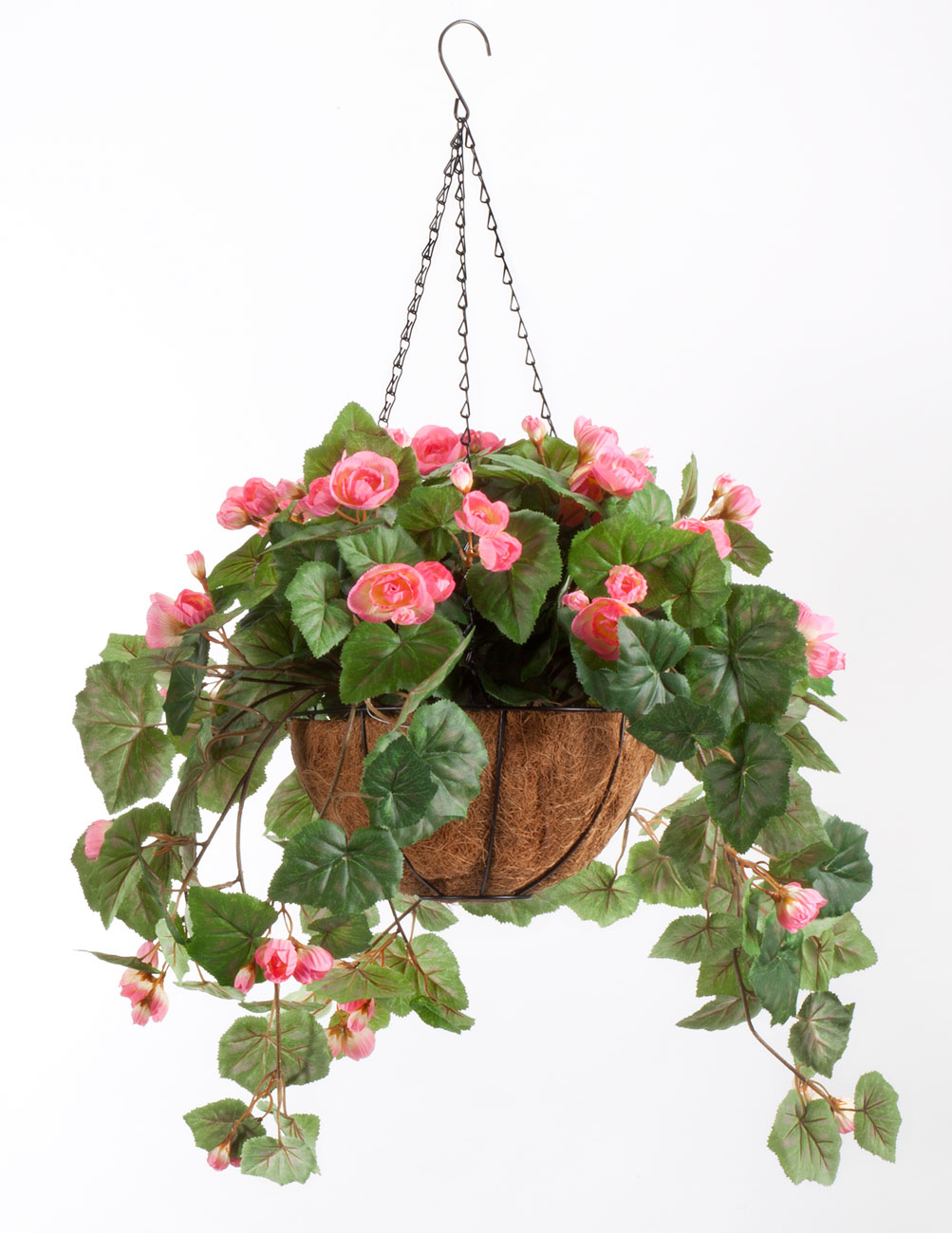 oakridge miles kimball fully assembled artificial begonia hanging basket 10 diameter and 18 chain pink polyester plastic flowers in metal and