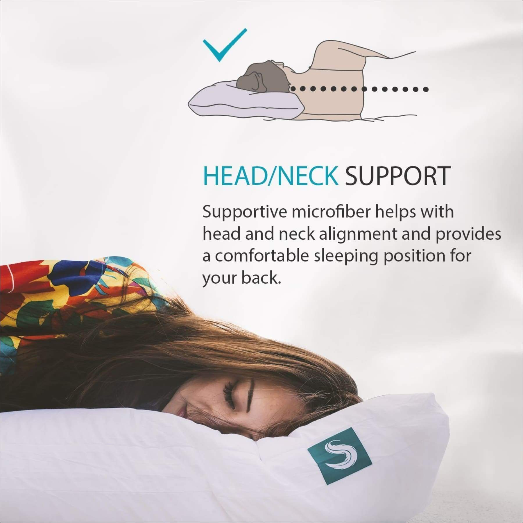 sleepgram pillow premium adjustable loft soft hypoallergenic microfiber pillow with washable removable cover 18 x 26 standard queen size