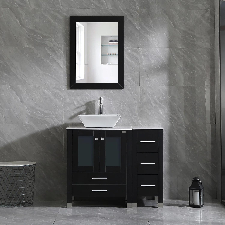 wonline 36 inch bathroom vanity wood cabinet double vessel sink above counter ceramic sink square bathroom cabinet w mirror black