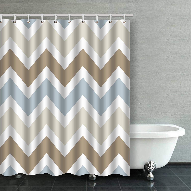 artjia smoky blue gray tan brown chevron pattern bathroom shower curtain 66x72 inches walmart com