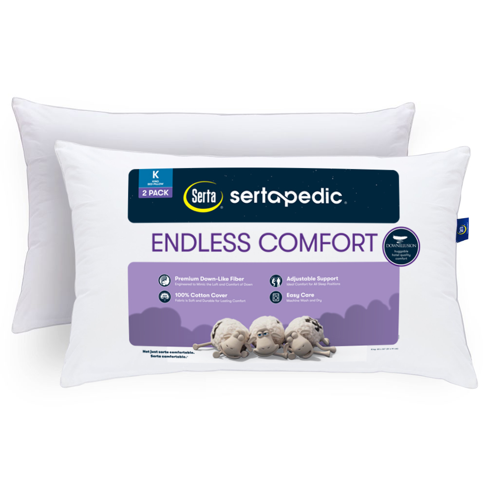 sertapedic endless comfort pillow set of 2 king size