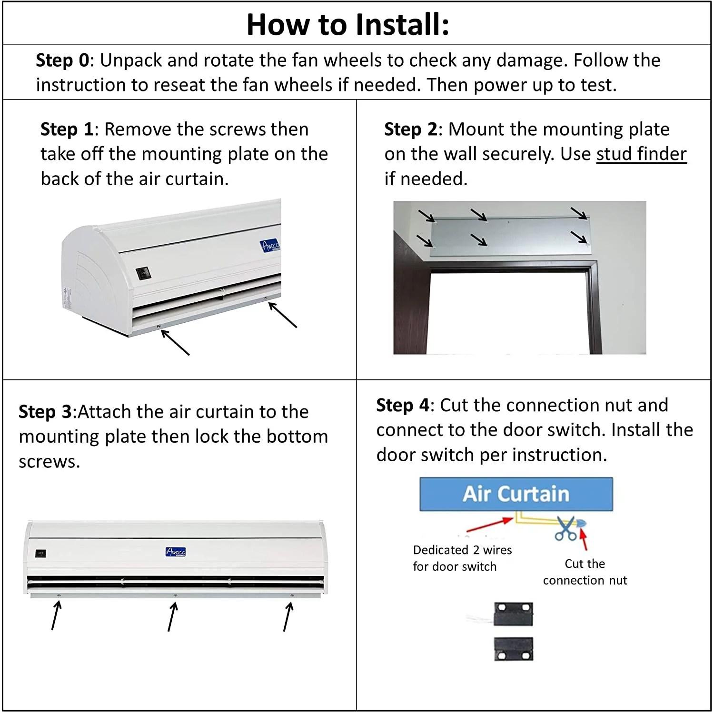 Awoco Fm 3509l Y M 36 Elegant 2 Speeds 900 Cfm Indoor Air Curtain With An Easy Install Magnetic Door Switch Walmart Com Walmart Com