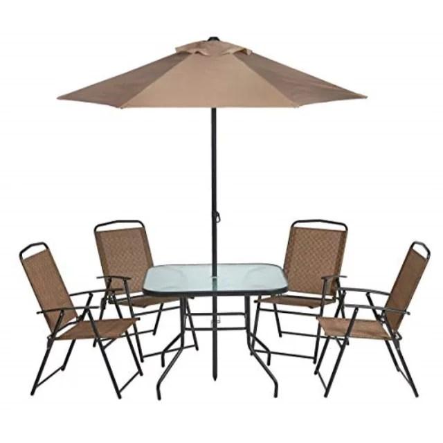 outdoor 6 piece folding patio dining furniture set with umbrella seats 4