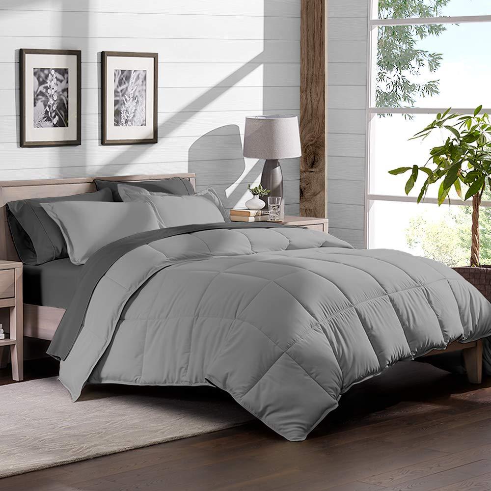 8 piece bed in a bag split king comforter set light grey sheet set grey