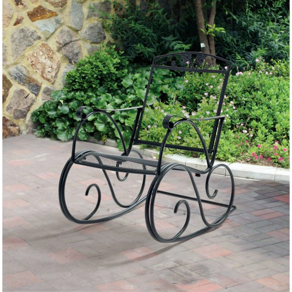 Mainstays Jefferson Outdoor Wrought Iron Porch Rocking Chair     Mainstays Jefferson Outdoor Wrought Iron Porch Rocking Chair   Walmart com
