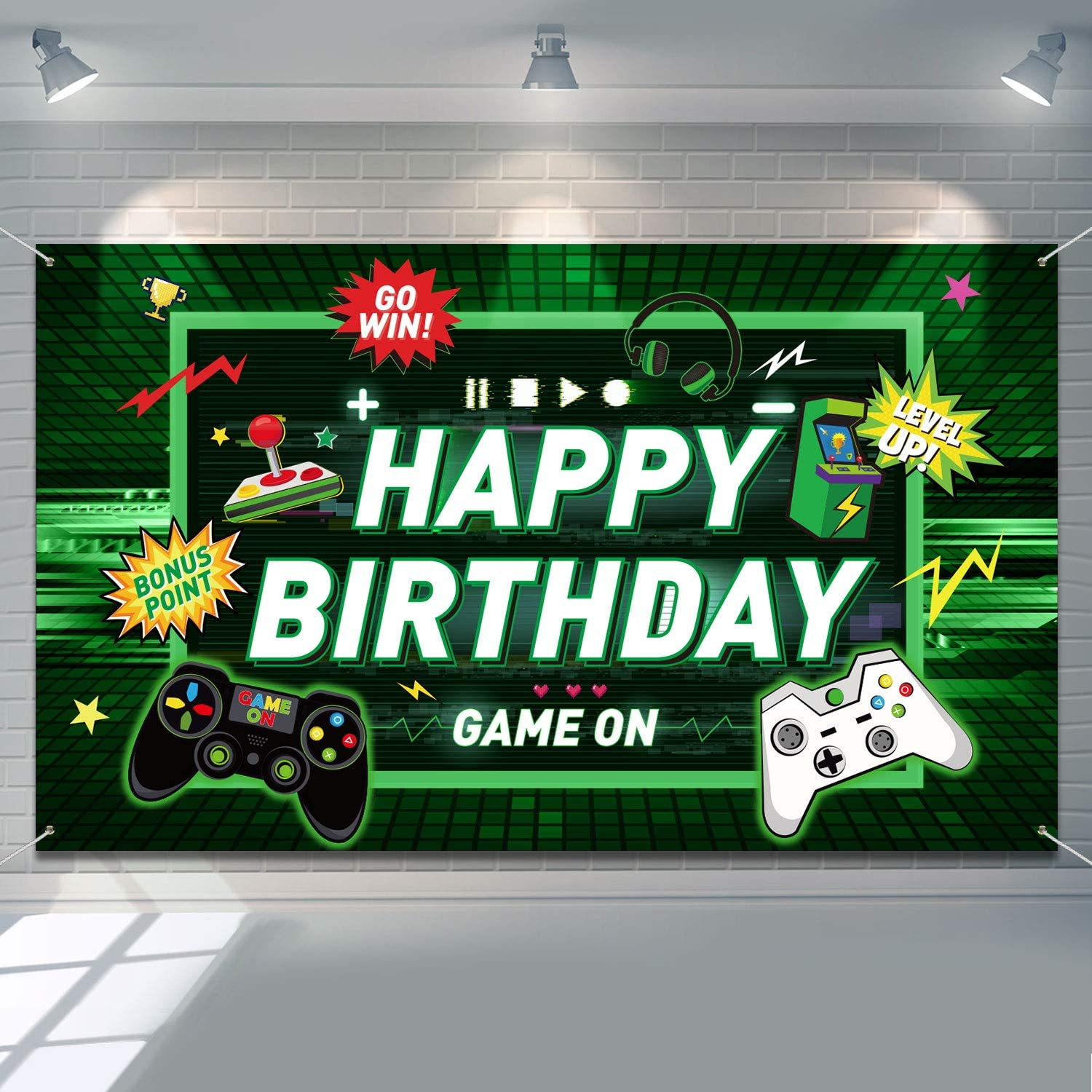 Video Game Happy Birthday Backdrop Gaming Theme Party Photography Background For Kids Boys Birthday Party Decorations Walmart Com Walmart Com