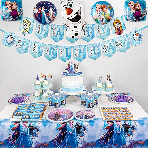 Frozen 2 Party Supplies Set 128pcs Birthday Decorations 10 Kids Frozen 2 Theme Party Includes Happy Birthday Banner Tablecover Plates Knives Spoons Forks Cake Toppers Cupcake Toppers Chocolate S Walmart Com Walmart Com