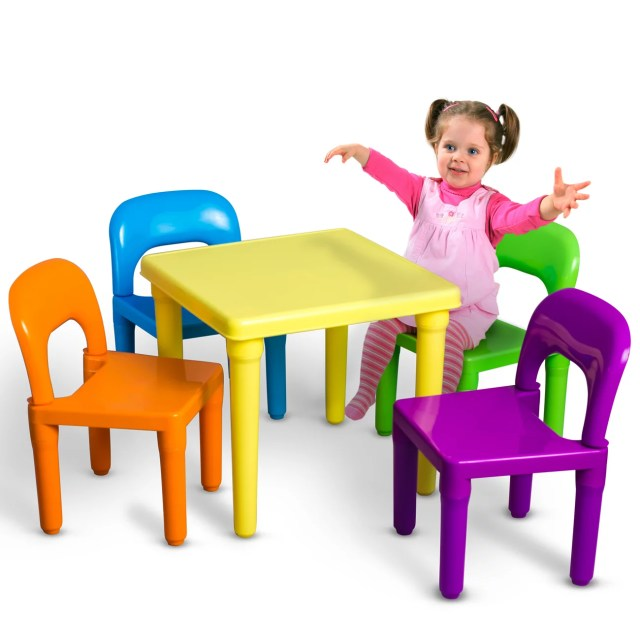 Oxgord Kids Table And Chairs Play Set For Toddler Child Toy Activity Furniture Indoor Or Outdoor Walmart Com