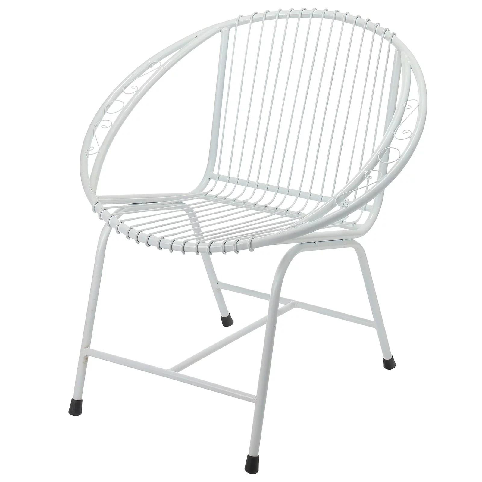 Veranda Metal Wire Chair White Filigree