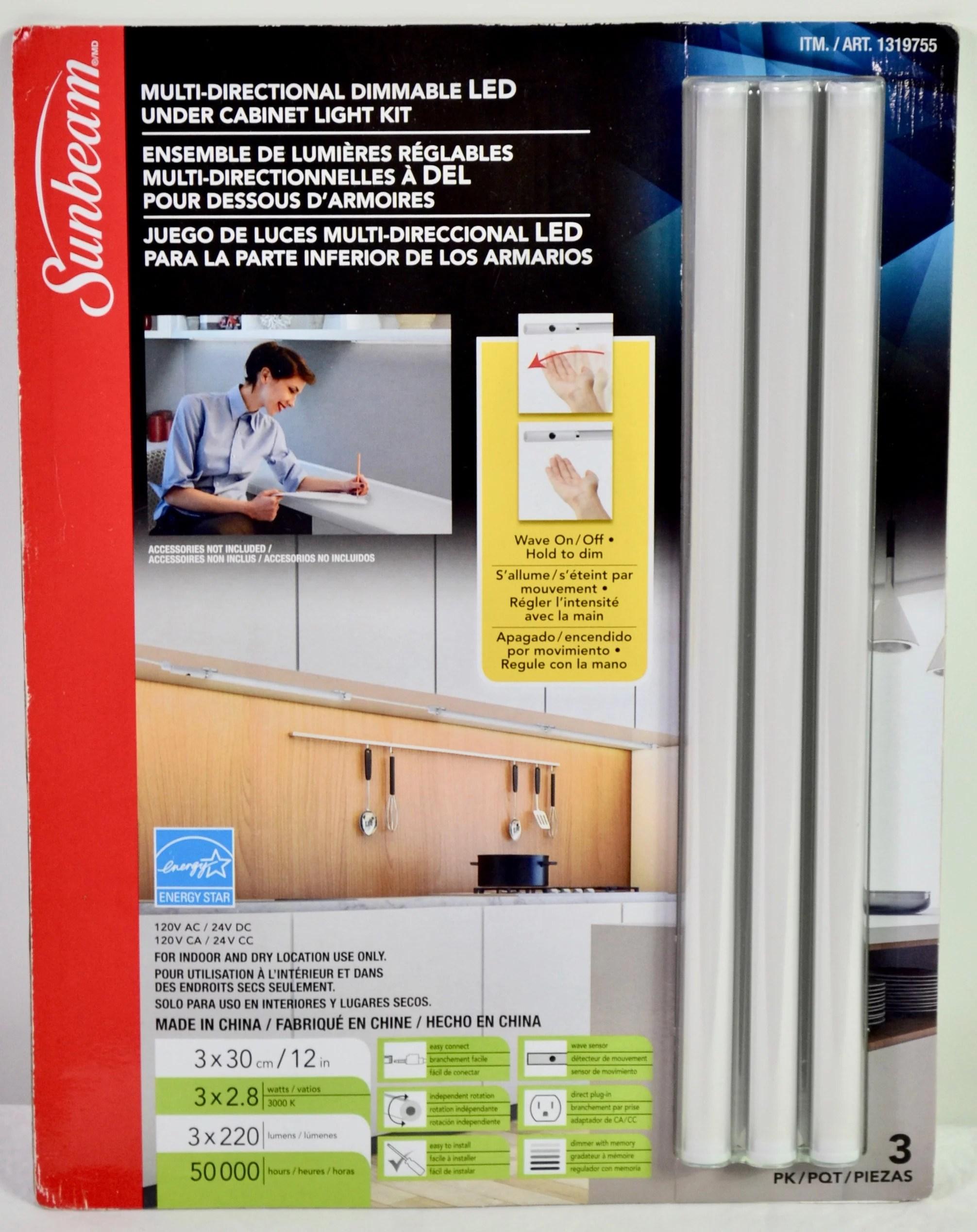 sunbeam 12 multi directional dimmable led under cabinet light kit 3 pack
